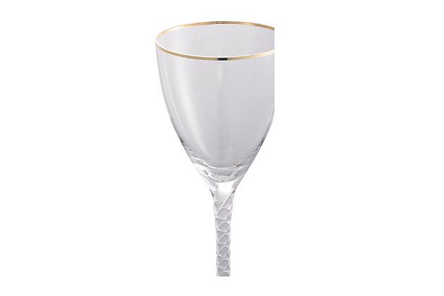 "AB HOME 9"" Bubble-Stem Wine Glass, Gold Rim, , large"