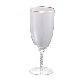 "AB HOME 8.5"" Bubble-Stem Goblet, Gold Rim, , rollover"