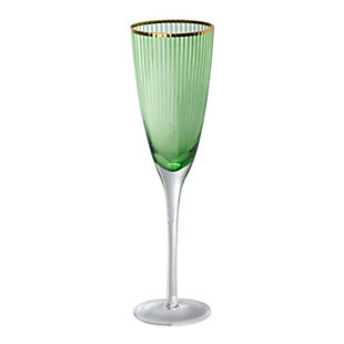 "AB HOME 10"" Green Champagne Flute, Gold Rim, , rollover"