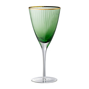 "AB HOME 9"" Green Wine Glass, Gold Rim, , large"