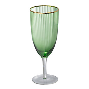 "AB HOME 8"" Green Goblet, Gold Rim, , large"