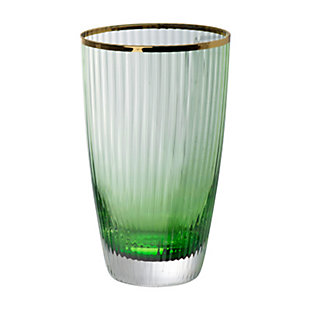 "AB HOME 5.5"" Green Glass Cup, Gold Rim, , large"