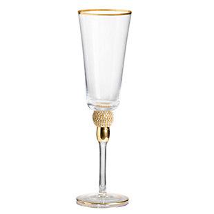"AB HOME 10"" Champagne Flute, Gold Rim, , rollover"