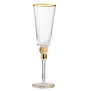 "AB HOME 10"" Champagne Flute, Gold Rim, , large"