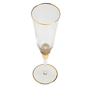 """AB HOME 10"""" Champagne Flute, Gold Rim, , large"""