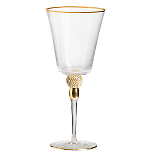 "AB HOME 9"" Wine Glass, Gold Rim, , rollover"