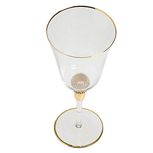 "AB HOME 9"" Wine Glass, Gold Rim, , large"