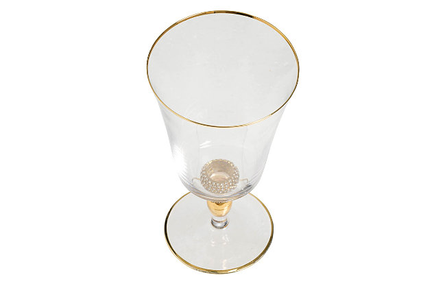 "AB HOME 7.5"" Goblet, Gold Rim, , large"