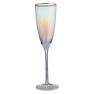 "AB HOME 10.5"" Champagne Flute, Gold Rim, , rollover"