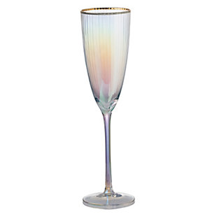 """AB HOME 10.5"""" Champagne Flute, Gold Rim, , large"""