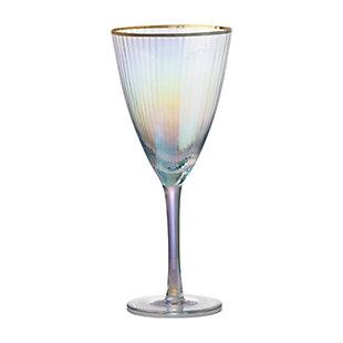 """AB HOME 9"""" Wine Glass, Gold Rim, , rollover"""