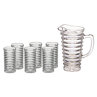 AB HOME Cut Crystal Pitcher with 6 Glasses, , large