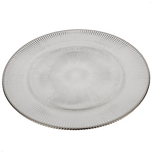 """AB HOME 13"""" Glass Charger, Silver Rim, , large"""