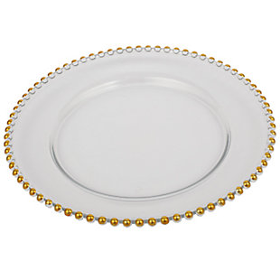 """AB HOME 13"""" Glass Charger, Gold Rim, , rollover"""