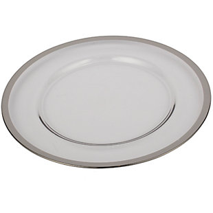 """AB HOME 13"""" Glass Charger, Silver Rim, , rollover"""