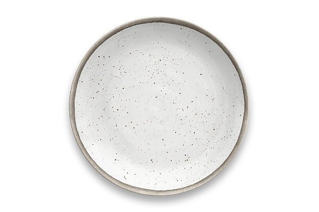 Tarhong Retreat Pottery White Bamboo Dinner Plate (Set of 6), , large