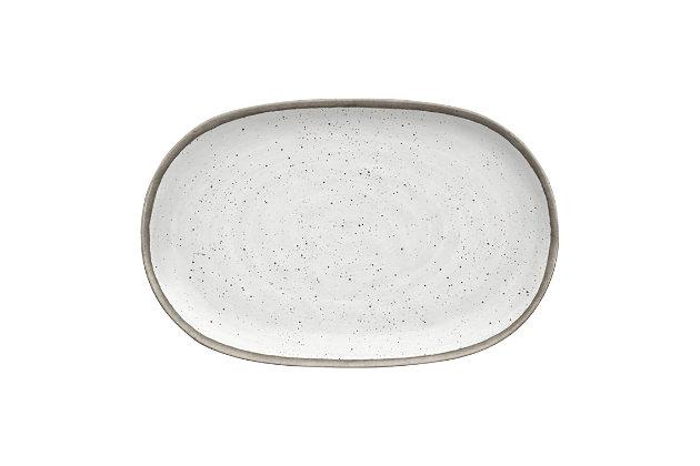 "Tarhong Retreat Pottery White Bamboo Platter 10.6"" x 17"", Merge (Bamboo powder and Melamine), , large"