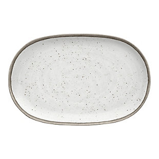 "Tarhong Retreat Pottery White Bamboo Platter 10.6"" x 17"", Merge (Bamboo powder and Melamine), , large"