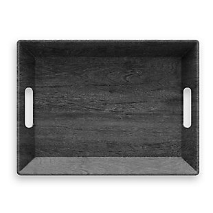 Tarhong Faux Blackened Wood Handled Tray, , rollover