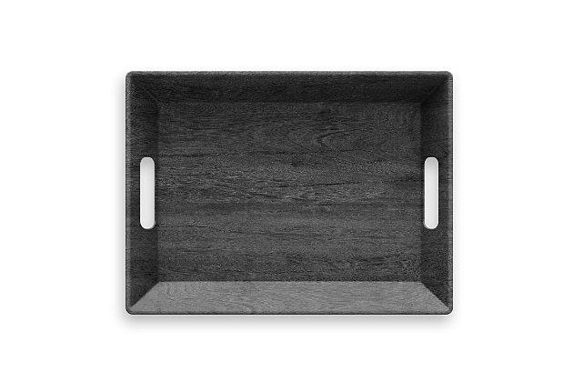 Tarhong Faux Blackened Wood Handled Tray, , large