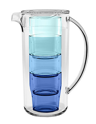 Tarhong 91 oz. Simple Stacked Nested Pitcher Set, 4 Assorted Color Glasses and Pitcher, , rollover