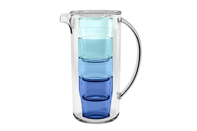 Tarhong 91 oz. Simple Stacked Nested Pitcher Set, 4 Assorted Color Glasses and Pitcher, , large
