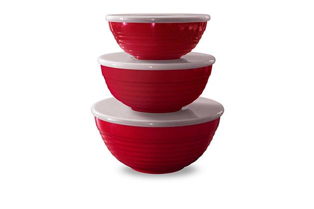 Tarhong Red Lidded Bowl Set (Set of 3), , large