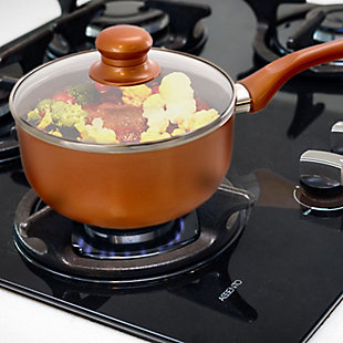 Better Chef 1.5 Qt. Copper Colored Ceramic Coated Saucepan with glass lid, , rollover