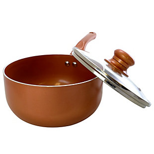 Better Chef 1.5 Qt. Copper Colored Ceramic Coated Saucepan with glass lid, , large