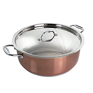 Better Chef 12 Quart Stainless Steel Shallow Pot with Lid and Handles in Copper, , large