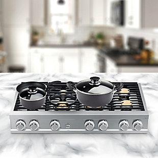 Brentwood 7 Piece Nonstick Aluminum Cookware Set in Granite, , rollover