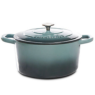 Artisan 7 Quart Round Cast Iron Dutch Oven in Slate Gray, Gray, large