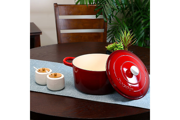 Crock Pot Artisan 7 Quart Round Cast Iron Dutch Oven in Scarlet Red, Red, large