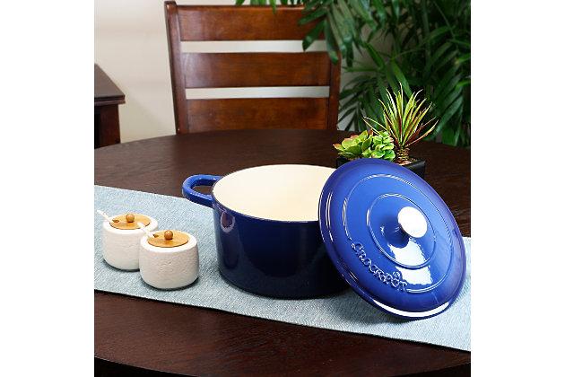 Crock Pot Artisan 7 Quart Round Cast Iron Dutch Oven in Sapphire Blue, Blue, large