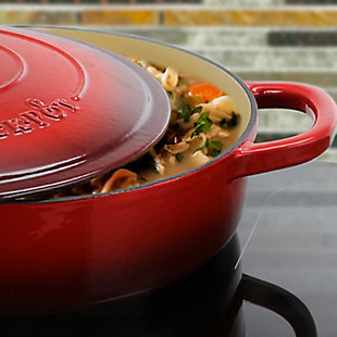 Crock Pot Artisan Enameled Cast Iron 5 Quart Round Braiser Pan with Self Basting Lid in Scarlet Red, Red, large