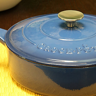 Crock Pot Artisan 3.5 Quart Enameled Cast Iron Deep Saute Pan With Self Basting Lid in Teal Ombre, Blue, rollover