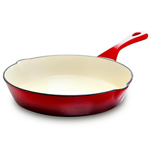 Crock Pot Artisan 8 in. Round Enameled Cast Iron Skillet in Scarlet Red, Red, large