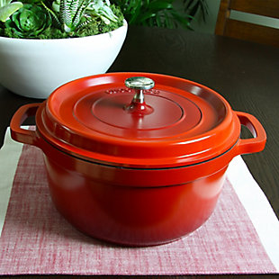 Crock Pot Edmound Cast Aluminum 5 Quart Dutch Oven with Lid in Red, , rollover
