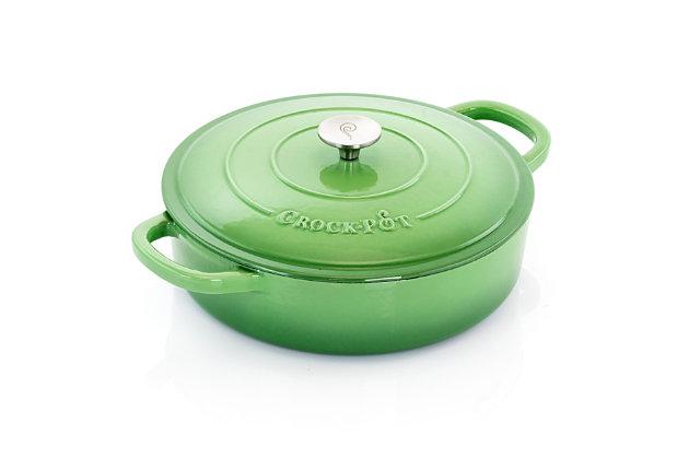 Crock Pot Artisan 5 Quart Round Enameled Cast Iron Braiser Pan with Self Basting Lid in Pistachio Green, Green, large