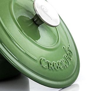 Crock-Pot Artisan 2 Piece 3 Quarts Enameled Cast Iron Dutch Oven in Pistachio Green, Green, large