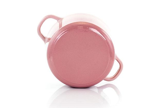 Crock-Pot Artisan 2 Piece 3 Quarts Enamled Cast Iron Dutch Oven in Blush Pink, Pink, large