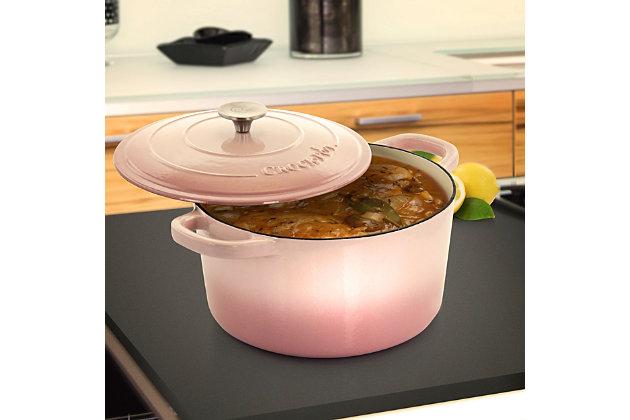 Crock-Pot Artisan 2 Piece 7 Quarts Enamled Cast Iron Dutch Oven in Blush Pink, Pink, large