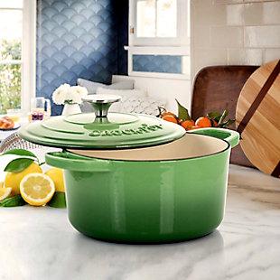 Crock-Pot Artisan 2 Piece 5 Quarts Enameled Cast Iron Dutch Oven in Pistachio Green, Green, rollover