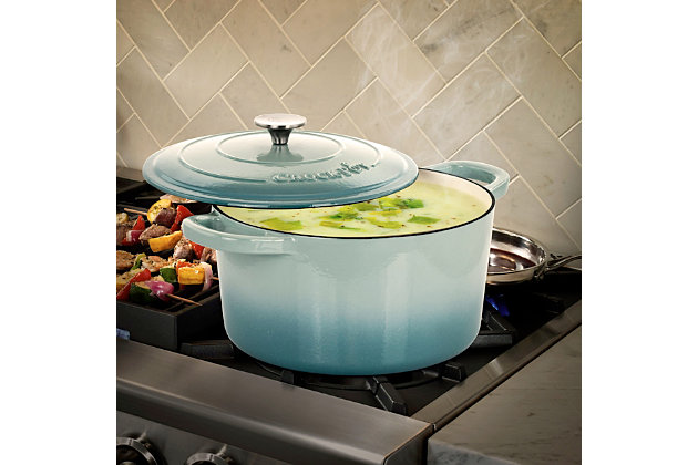 Crock-Pot Artisan 2 Piece 7 Quarts Enamled Cast Iron Dutch Oven in Aqua Blue, Blue, large