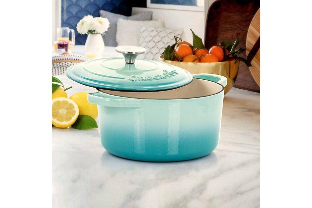 Crock-Pot Artisan 2 Piece 3 Quarts Enameled Cast Iron Dutch Oven in Aqua Blue, Blue, large