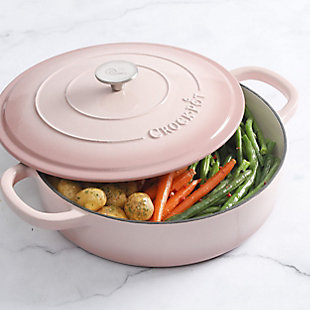 Crock Pot Artisan 5 Quart Round Enameled Cast Iron Braiser Pan with Self Basting Lid in Blush Pink, Pink, rollover