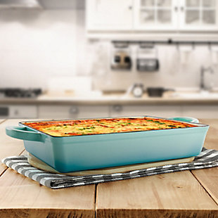 Crock Pot Artisan 13 Inch Rectangular Enameled Cast Iron Bake Pan in Aqua Blue, , rollover