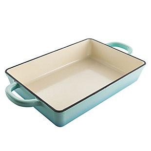 Crock Pot Artisan 13 Inch Rectangular Enameled Cast Iron Bake Pan in Aqua Blue, , large