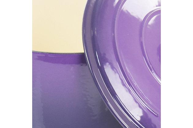 Crock-Pot Artisan 2 Piece 5 Quart Enameled Cast Iron Braiser with Lid in Lavender, Purple, large
