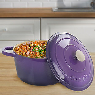 Crock-Pot Artisan 2 Piece 7 Quart Enameled Cast Iron Dutch Oven with Lid in Lavender, Purple, rollover